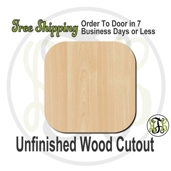 Plaque Square Rounded - 40017- Cutout, unfinished, wood cutout, wood craft, laser cut shape, wood cut out, DIY, Free Shipping