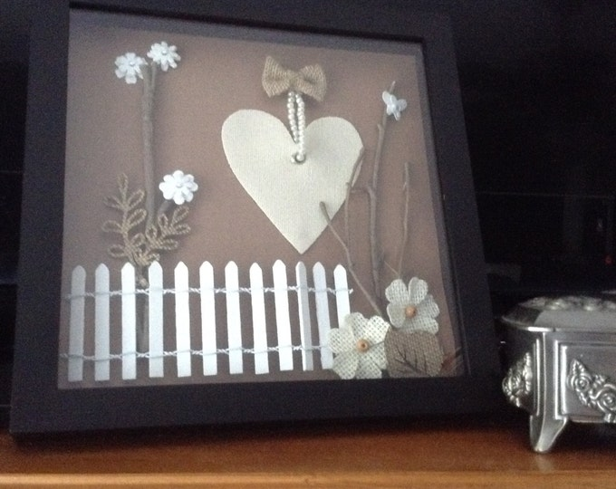 Shadowbox Romantic Heart and Pearls