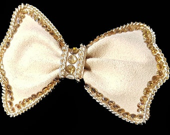 New Ultra Suede Bow With Rhinestone Trim Head Band