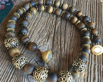 Matte Tiger's Eye Beaded Necklace