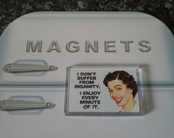 I Don't Suffer From Insanity.. Fridge Magnet. Funny, Retro Humour