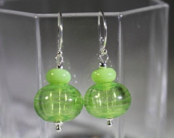 Hollow lampwork beads in shades of lime green