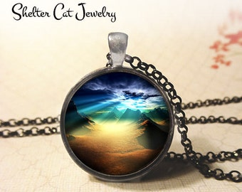 """Alien Landscape at Sunset Necklace - 1-1/4"""" Circle Pendant or Key Ring - Handmade Wearable Photo Art Jewelry - Mountains, Galaxy, Space Gift"""