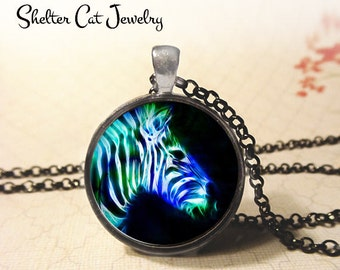 """Zebra in Fractals Necklace - 1-1/4"""" Circle Pendant or Key Ring - Handmade Wearable Photo Art Jewelry - Nature Art, Wildlife, Animal Gift"""
