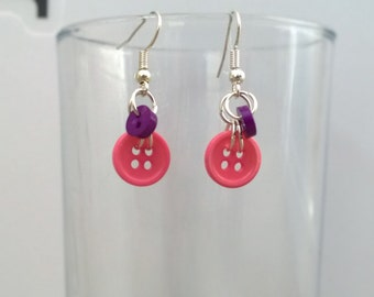 Cute Button Dangle Earrings.