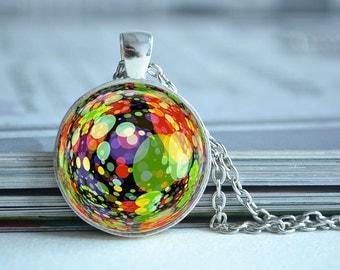 Colorfyl bubbles necklace,bubble necklace, glass dome photo pendant,children necklace ,picture jewelry,cabochon gift (XL104)