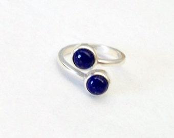 Lapis sterling ring, Lapis Lazuli cab, dark blue ring, midnight blue jewelry, genuine lapis gem, two stone ring, deep blue jewelry, 2079