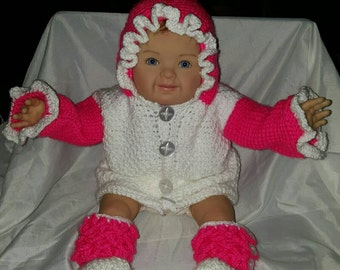Baby or Littles hooded sweater and booties