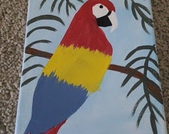 Parrot painting 8x10 canvas  - Hand painted