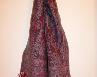Red wool scarf muffler with a touch of blue Jamawar Paisley hand knotted fringes