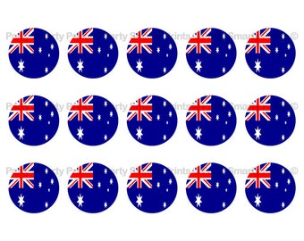 "Australian Flag  1 Inch Round - Digital Download - Bottle Cap - Sticker - Bows - Australian Party - 4"" x 6"" Sheet"