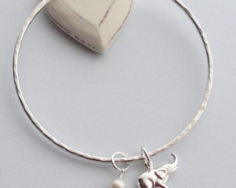Sterling Silver Elephant and Fresh Water Pearl or Swarovski Crystal Hammered Bangle - PRIDE