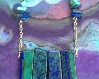Valentines Day sale Lapis lazuli and turquoise necklace