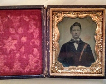 Antique Photo, Ambrotype, Precursor to the tintype, Dapper Young Man With Fashionable Suit and Bow Tie