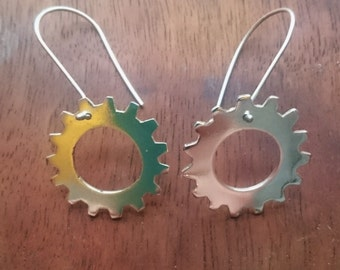 Single cog earrings