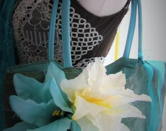 Fun aqua blue green purse handbag flowers