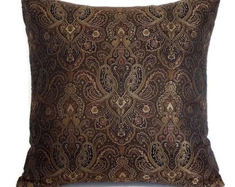 """Paisley Throw Pillow - Brown Decorative Pillow - Brown Throw Pillow - Paisley Accent Pillow - Brown Paisley Pillow - 18""""x18"""""""