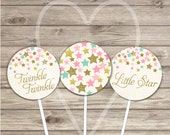 Cupcake Toppers Twinkle Twinkle Little Star Vintage Pink Gold Party 2 inch Circles Glitter Girl Party girl First Birthday Instant Download