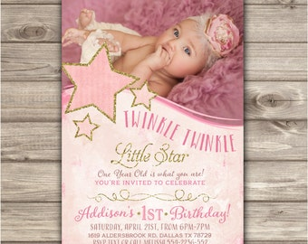 Printable Photo Twinkle Twinkle Little Star Birthday Invitations Shabby Chic Pink Gold Glitter Theme Party girl First Birthday NV1002