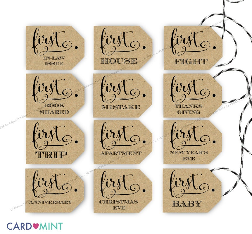 Wedding Gift Year Of Firsts : Wine Firsts Tags Wedding Marriage Tags Wine Labels Printable