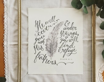 8x10 Feathers Scripture Print, Psalm 91:4, Hand-lettered Art, FS86-1000