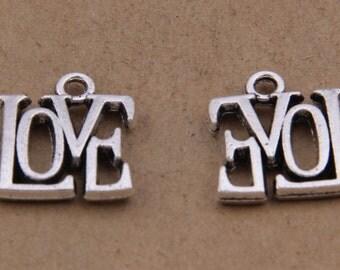 200pcs 13x15mm Antique Silver Letters Charm Pendants Love Charm Pendants Y7326