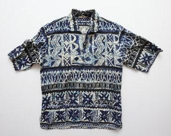 Vintage 50s Caravelle Hawaiian Barkcloth Indigo Batik Print Popover Cabana Shirt Size M