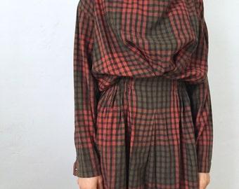 1980s • PLANTATION Issey Miyake plaid full skirt avant garde dress
