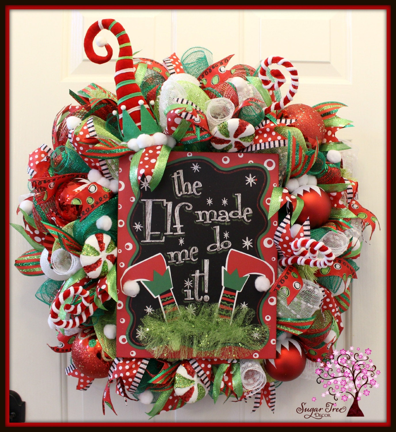 Elf wreath christmas elf wreath door wreath elf decoration for Elf door decoration