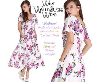 SUMMER SALE! Vintage White and Lilac Floral Dress/Cosette Dress/Drop Waist/Pockets 30% Off 178