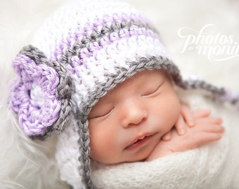 Newborn Girl Hat, Girl Ear Flap Hat, Baby Girl Hat, Crochet Baby Hat, Newborn Photo Prop, Toddler Hat, Baby Girl, White Orchid Grey