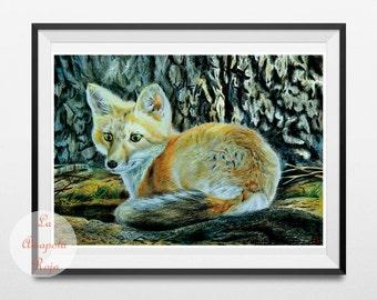 Fox art print, fox poster unframed, fox nursery decor, forest wall art, fall home decor, fox illustration, fox wall hanging, fox painting