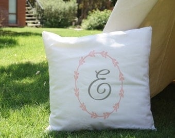 Classic style monogram canvas pillow cover with white canvas base