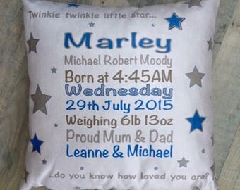 Baby Boy Birth Cushion, baby gift, personalised baby gift, personalised cushion, christening gift, christening cushion