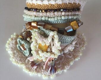 Hand Crocheted Beaded Cuff Bracelet, Crochet Bracelet, Crochet Jewelry, Cuff Bracelet, Beaded Bracelet