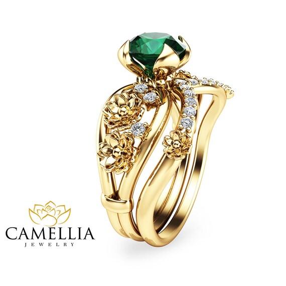 unique emerald engagement ring set floral 14k by