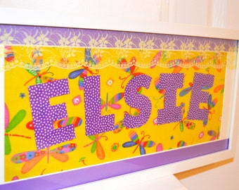 Name Frame, Personalised Name Frame, Children's Name Frame, Baby Girl Name Frame, White Name Frame for Kids, Children's Personalised Picture