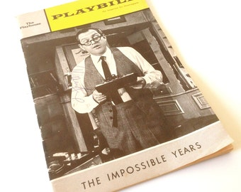 Vintage Theater Program Playbill Signed Autograph - Alan King - The Impossible Years - 1966