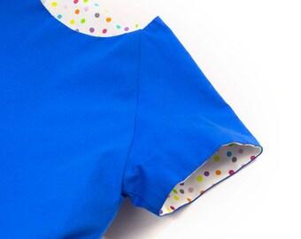 Carmencita – Blue balloon dress with big pocket, Size 98-104 (3-4 y.)