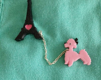 Eiffel Tower & pink French poodle brooch set.