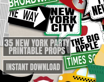 35 New York Party Photo Booth Props, New yorker themed party props, love new york party photobooth sign, usa party props, instant download