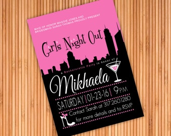Girl's Night Out Style Bachelorette Party Invitation