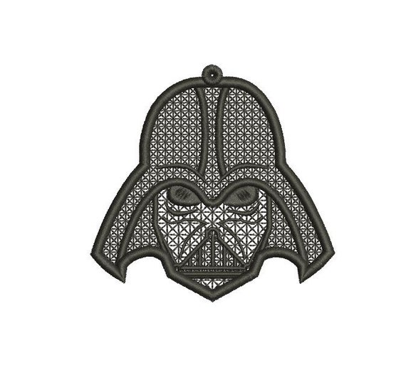 Stand Alone Lace Embroidery Designs : Darth vader star wars ornament files fsl stand alone by