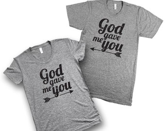 """Couples T-Shirt """"God gave me you"""" Triblend Christian T-Shirt (XS-2XL), Wifey, Hubby, Wife and Husband, Engagement Photos, Christian Couple,"""
