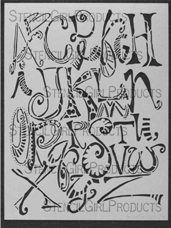 stencil girl alpha doodles stencil 9 x 12 inch alphabet doodle stencil art journal