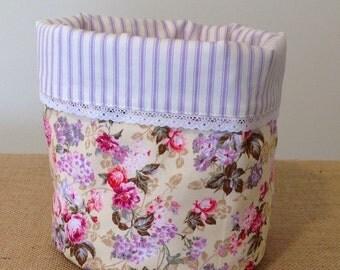 Round Fabric Basket/Organiser-Yarn Storage Bin-Padded Reversible Storage Basket Organiser-Kitchen Bathroom Bedroom Storage Bin-Made in UK
