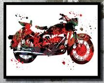 Motor Harley Davidson Watercolor Art Print Motorbike Poster Boy room decor Man boy birthday gift Motor painting Fast hard rock art Bad boy
