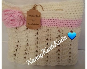 Children's Tote Bag Handmade Crochet With Rose