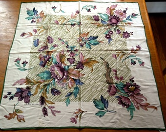 Large Vintage Anne Klein for The Vera Companies Silk Scarf Purple Teal Mauve Taupe Cream Floral Tout Silk Japan
