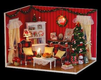 DIY Miniature Dollhouse Kit Christmas Dollhouse Kit